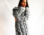 Spring sweater  fashion Grey over-sized handmade cable-knitted cardigan coat - orchideaboutique