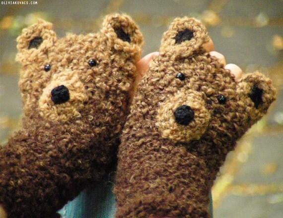 BEAR GLOVES FINGERLESS animal original design forest autumn woodland crochet mittens hand warmers kids adults free worldwide shipping