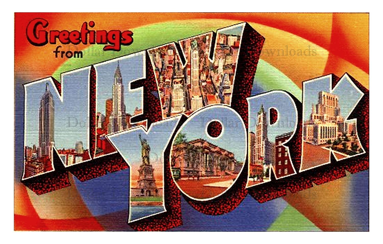 Greetings from new york vintage large letter postcard digital image