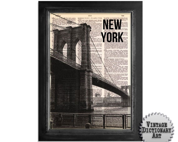 The NY Brooklyn Bridge 02 - printed on Recycled Vintage Dictionary Paper - 8x10.5