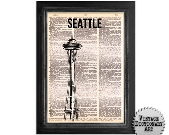 Seattle Space Needle Building - printed on Recycled Vintage Dictionary Paper - 8x10.5