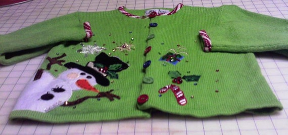 Girls hooded Christmas elf coat carousel skirt of recycled sweaters