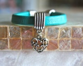 Turquoise leather bracelet with pewter slide bead, pewter heart charm and pewter clasp - HollyMackDesigns