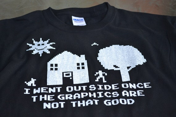 I went outside once addicted to gaming geek tshirt computer video game mens geekery tshirt black 8bit screenprint gift 4 father son brother