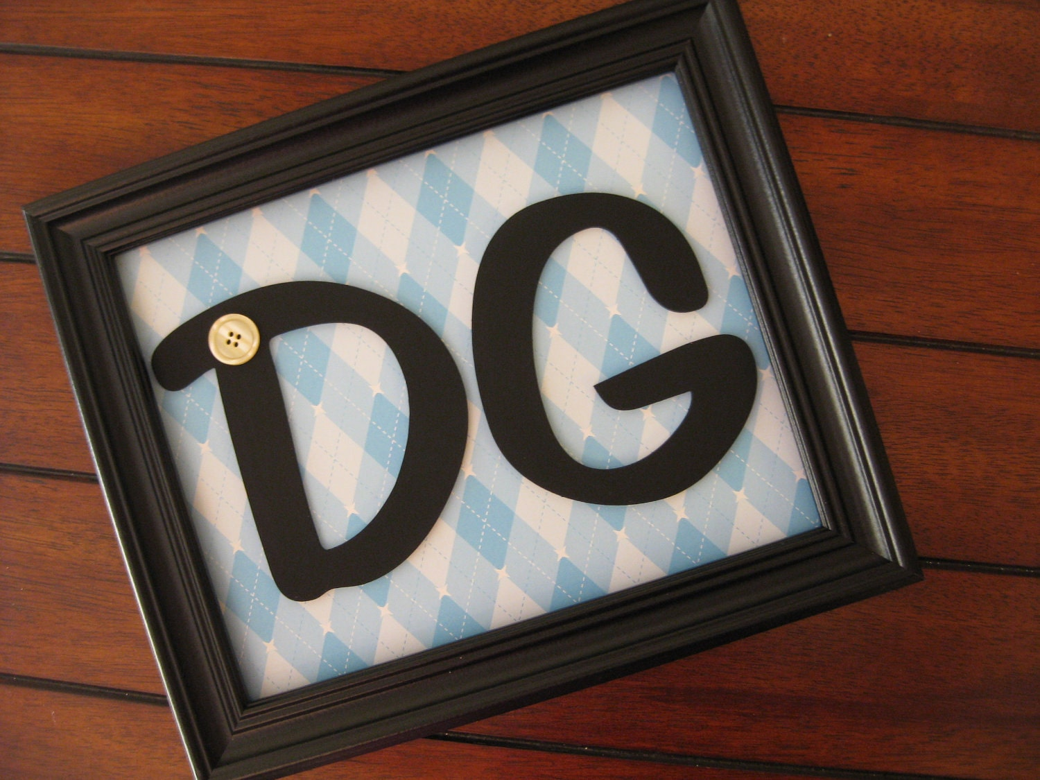 Baby Boy Wall Decor Framed Initials Custom by ForLittleBuggies