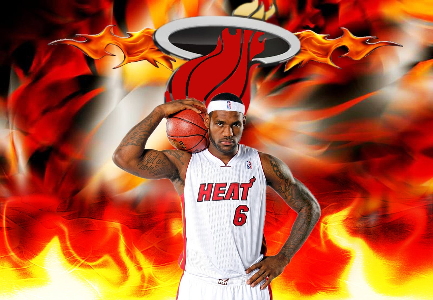 Lebron James Miami Heat Framed Art Print On By
