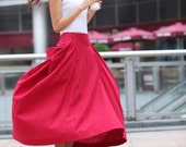 Maxi Skirt Big Pockets Big Sweep Long Skirt in Rose Red Summer Linen Skirt - NC313 - Sophiaclothing