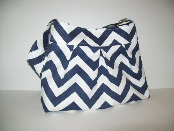 Navy Blue and White Chevron Pleated/Flat Bottom Purse/Shoulder Bag