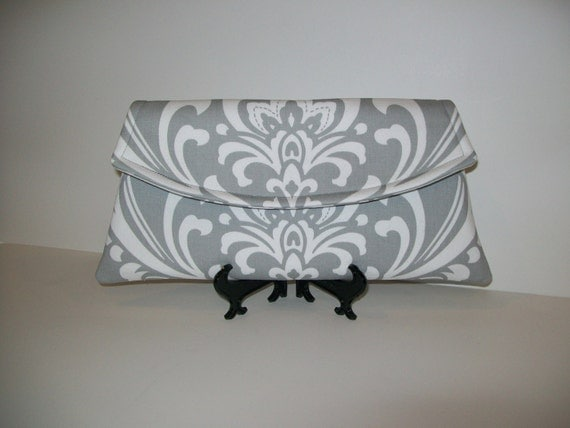 Classic Angled Clutch Gray and White Twill Damask