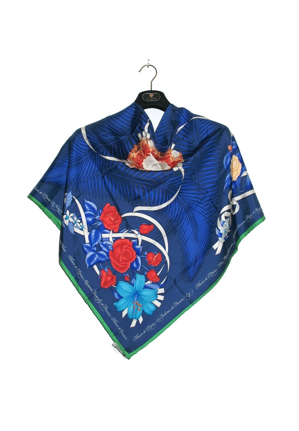 Authentic Rare HERMES Fleur de LOpera BLUE Silk Scarf Authentic Hermes Scarves