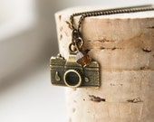 Camera Necklace- Bronze Photographer Charm- Vintage Style Jewelry- Holiday Sale- Photography- FREE WORLDWIDE SHIPPING - CharmTopia