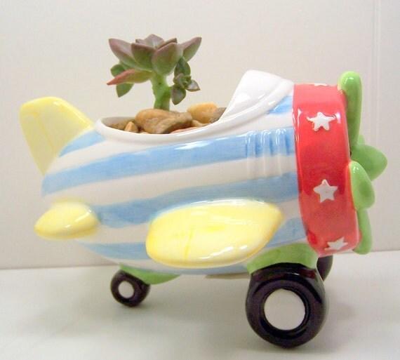 Succulent Airplane Planter DIY kids decor