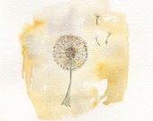 Just Dandy/Dandelion yellow/5x7/Watercolor Print/Grey and Yellow/Gray and Yellow - kellybermudez