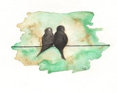 Love Birds on a Wire 5x7 Print - kellybermudez