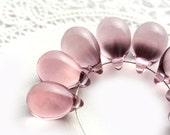 Lavender violet tear drops, briolettes, czech glass beads - 10x14mm - 6Pc - 0261 - MayaHoney