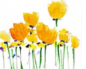 CIJ Handpainted Note Card Greeting Card Any occasion Blank Buttercup Yellow Poppy Wildflowers Floral Original Watercolor Gardening - HandmadeExclusives