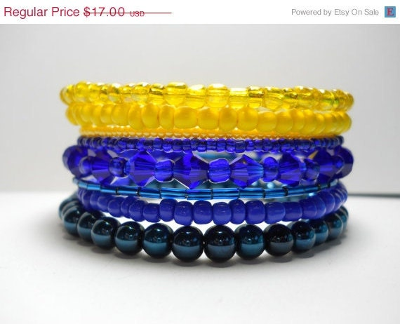 ON SALE Memory Wire Bracelet Blue Yellow Stacked Beaded Wrap Color Block
