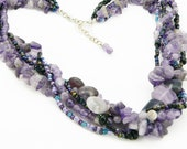 Amethyst Gemstone Chunky Multi Strand Necklace - Purple Necklace - Artisan Jewelry - LKSoriginals
