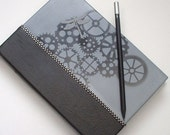 """Steampunk Quarter Bound Journal. """"Dragonfly Gears"""". Faux Black Diamond Embellishment. Handpainted Limited Edition. FREE POSTAGE. - ShoestringCottage"""