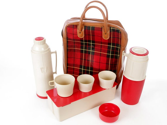 Plaid Picnic Party Thermos Set