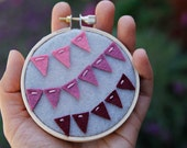 Embroidery Hoop Art. Ombre Felt Bunting. Wall Art by Catshy Crafts