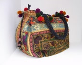 Mocha Lovers Tote Shoulder Bag Hill Tribe Thailand FAIR Trade Handmade Pom Pom (BG146-MOB) - EthnicLanna