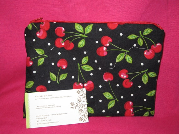 Medium Cherry zippered lined makeup bag clutch purse 50% recycled