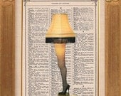 The Christmas Story Leg Lamp Buy 2 Get 1 FREE - Vintage Dictionary Print Vintage Book Print Page Art Upcycled Vintage Book Art - TheRekindledPage