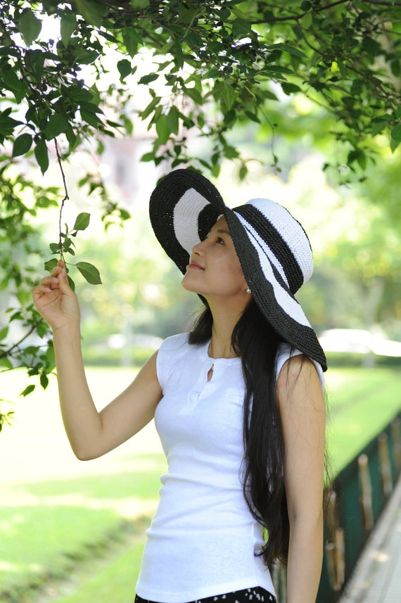 handmade crochet women sun hat with wide brim in white and black colors  summer hat