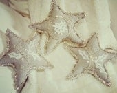 "Set of 3 Vintage French Linen Hemp and White Wool Silver Letter ""JOY"" Handstitched Holly Embroidered Christmas Holiday Star Pillow Ornaments - LeFadedFleur"