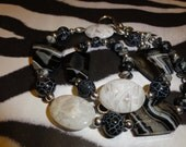 Black Snow Agate with White Bamboo Agate Necklace