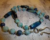 Blue Dragon Stripe Crab Agate Necklace & Bracelet