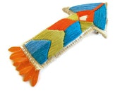 Arrow brooch geometric embroidered blue orange lime green with orange dangle glass beads