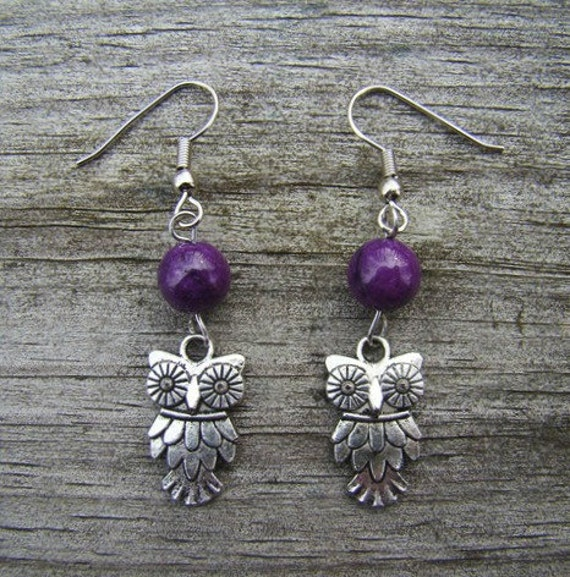 edgy owl - silver & purple bead earrings