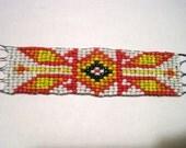 Native American Seed Bead Bracelet - Red Orange Yelllow Black & White