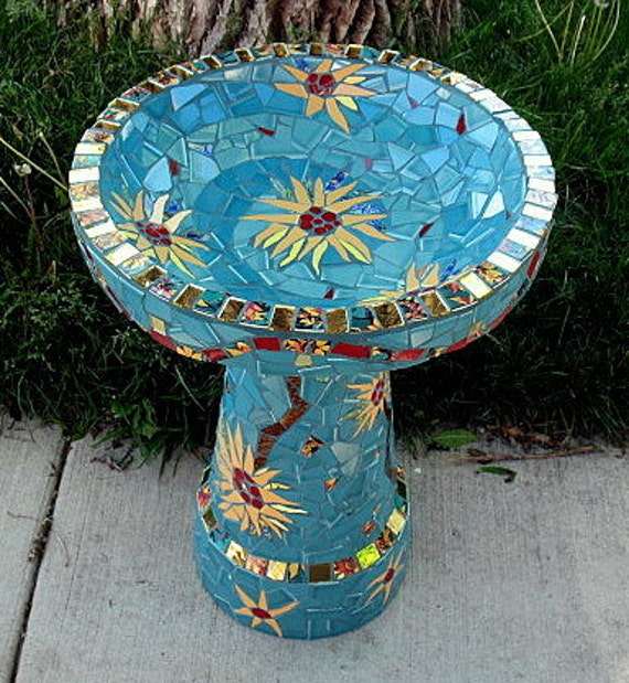 Purple Chrysanthemum Bird Bath - JoSara - Contemporary mosaic bird