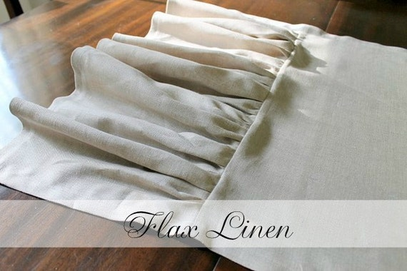 Flax Tan Beige Linen Table Runner 20 x 74 with ruffle