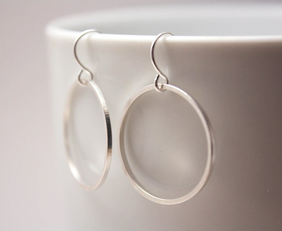 Simple Silver Hoop Earrings - simple everyday jewelry