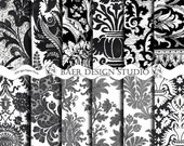 Black and White DAMASK DIGITAL Background 12x12 PAPER- Digital Collage Sheet for weddings, invitations commercial/personal use - BaerDesignStudio