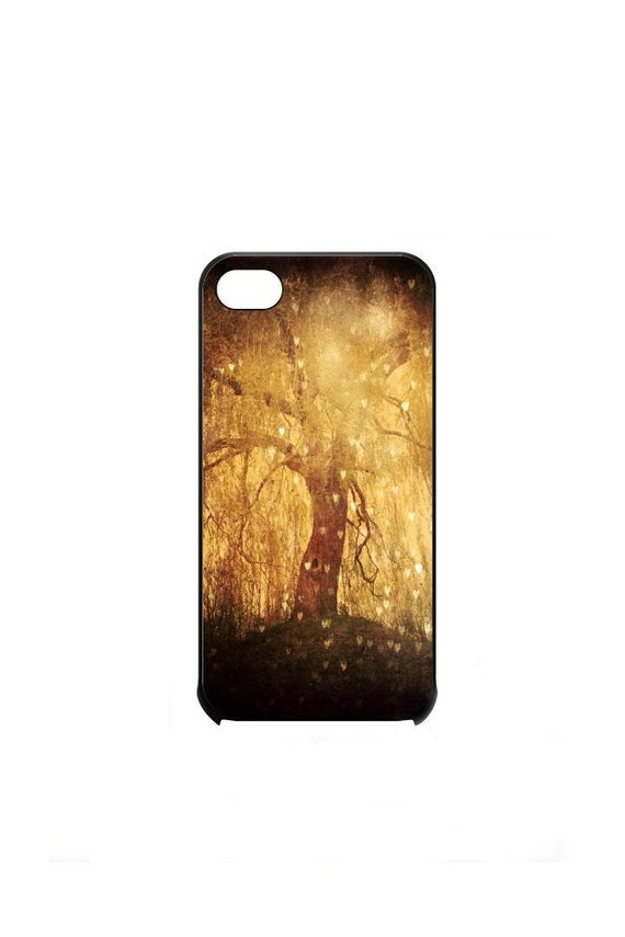 Magical Golden Tree Hearts iPhone 4s Case by Maximonstertje