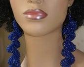 Spiral Crochet Earrings- Blue Sparkle