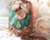 Copper Ox Cuff with Verdigris Leaf, Mocha Flowers, Rhinestone and Charms - MockiDesigns