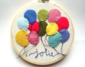 Hand embroidery hoop art  balloon art kids wall art  nursery art colorful hand embroidered