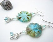 Turquoise Dangle Earrings - Mixed Color Czech Glass Coin Bead with Dangles - BitsOffTheBeach