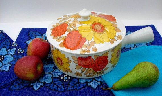 Gorgeous Retro Floral Ceramic Cooking Pot from France Yellow and Orange