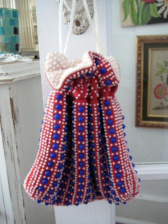 Vintage Red White and Blue Beaded drawstring Purse Bag Wristlet or Pouch