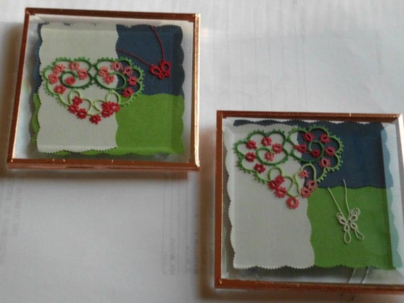Set of Glass Coasters / Paperweights with tatting