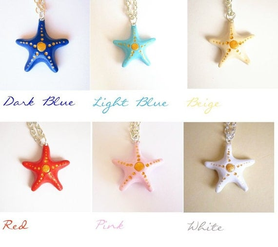 Starfish necklace, wish necklace, Good luck charm, Choose your good luck color