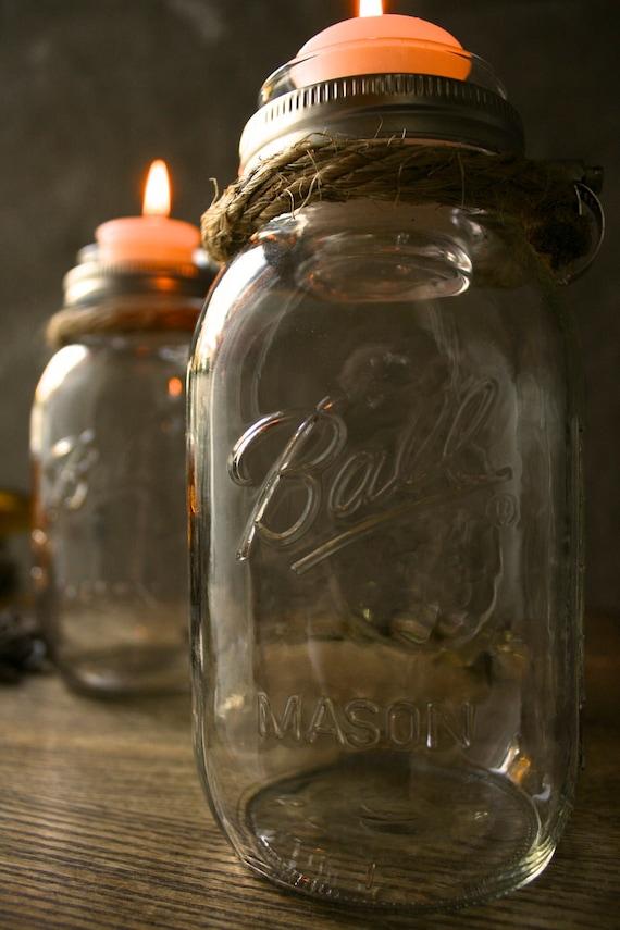 Par de Castiçais Mason Jar rústica casamento decoração de vidro Iluminação chique - Design Corda Rústico