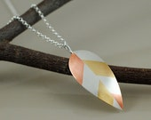 Leaf Pendant Necklace - Married Metals: Sterling Silver, Copper, and Brass - SilverspotMetalworks